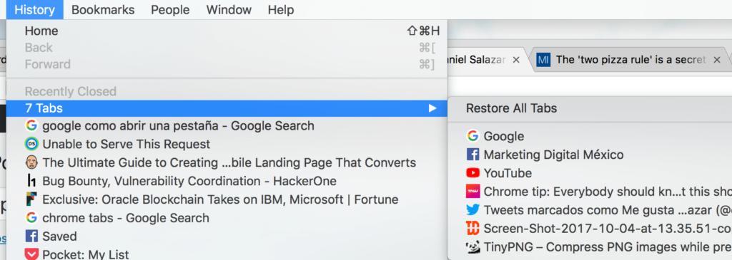 Recuperar historial de pestañas abiertas en Google Chrome